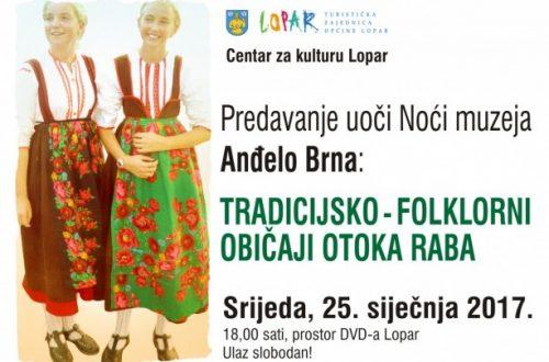 Predavanje uoči Noći muzeja – Tradicijsko-folklorni običaji otoka Raba